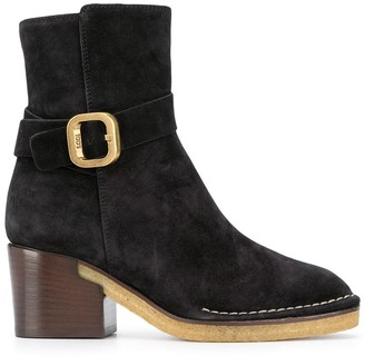 Tod's Buckle-Strap Suede Ankle Boots