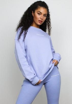 Missguided Petite Blue Oversized Crew Neck Sweatshirt