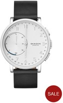 Skagen Hagen Connected Silver White Dial Leather Strap Smart Watch