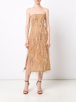 Jason Wu Organza Sleeveless Cocktail Dress With Feather Emb
