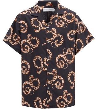 Desmond & Dempsey The Kaa Snake-print Cotton Pyjama Shirt - Navy Multi