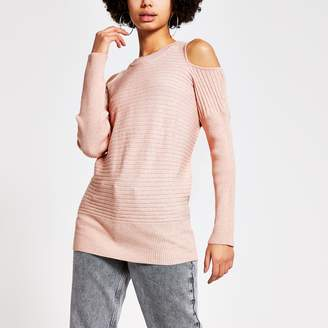 River Island Womens Pink cold shoulder rib knitted jumper
