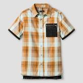 Art Class Boys' Short Sleeve Button Down Shirt Art Class- Orange/Aqua
