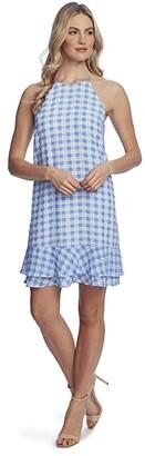 CeCe Sleeveless Tiered Ruffle Gingham Dress (Light Cerulean) Women's Dress