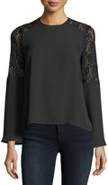 Brandon Thomas Lace-Shoulder Crepe Blouse