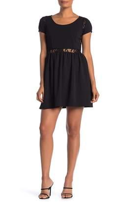 Velvet Torch Inset Lace Cap Sleeve Fit & Flare Dress