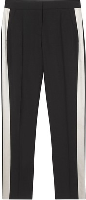 Burberry Straight Fit Silk Stripe Wool Tailored Trousers