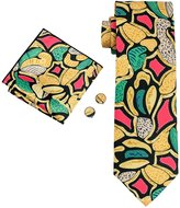 Hi Tie Hi-Tie Men's Fashion Necktie Set Abstract Florals Hanky Cufflinks