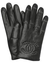 Chanel black leather stitched logo gloves