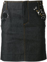 Coach embellished denim skirt - women - Cotton/Calf Leather - 2