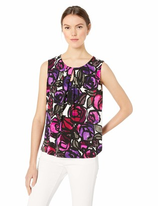 Kasper Women's Artistic Floral Printed Keyhole ITY CAMI
