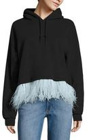Opening Ceremony Feather-Trim Cropped Hooded Sweatshirt