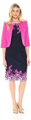 Maya Brooke Women's Solid Jacket Over Border Print Dress