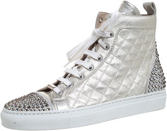 Le Silla Pearl Metallic White Quilted Leather and Suede Crystal Embellished Lace High Top Sneakers Size 36