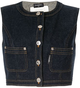 Chanel Pre Owned Sleeveless Cropped Denim Vest