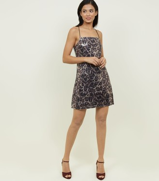 New Look Pink Vanilla Sequin Leopard Print Dress