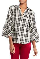 Lauren Ralph Lauren Petite Plaid Cotton Bell Sleeve Collared Shirt