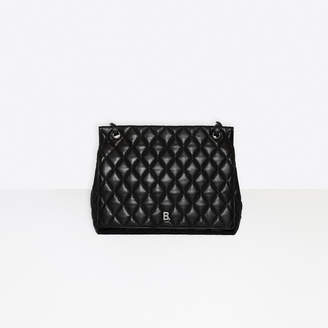 Balenciaga Touch Large Shoulder Bag in black quilted nappa calfskin