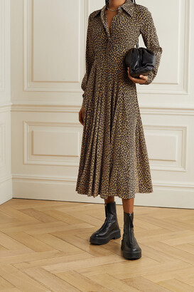 MICHAEL KORS COLLECTION - Leopard-print Silk Crepe De Chine Shirt Dress - Animal print