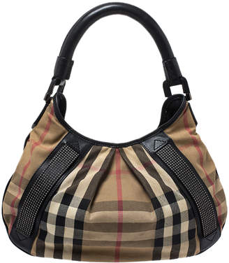Burberry Beige/Black Nova Check Canvas and Leather Studded Phoebe Hobo