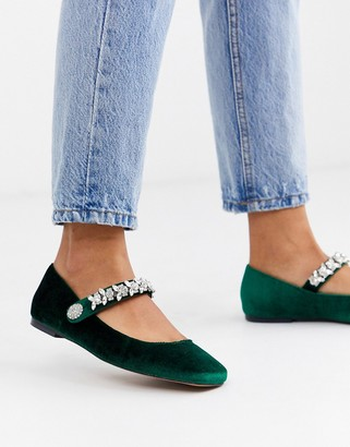ASOS DESIGN League mary jane ballet flats with rhinestones in green