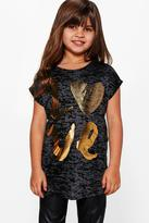 Boohoo Girls Sequin Tee with Gold Print