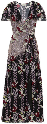 Temperley London Bellflower Sequin-embellished Floral-print Chiffon Wrap Maxi Dress