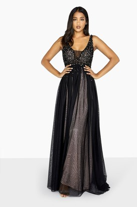 Little Mistress Black Tulle Maxi Dress