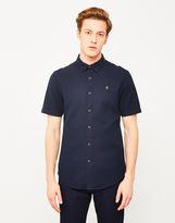 Farah Bolham Textured Short Sleeve Shirt Navy