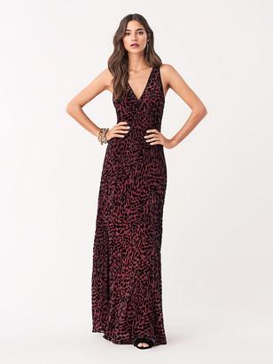 Diane von Furstenberg Clemine Velvet Burnout Embellished Gown