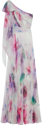 Marchesa One-shoulder Pleated Tie-dyed Chiffon Gown