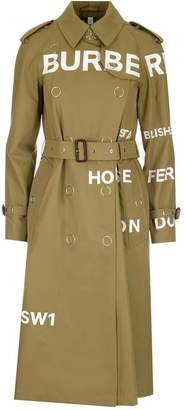 Burberry Logo Printed Trench Coat
