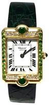Chopard 18K Yellow Gold Diamond & Emerald 23mm Watch