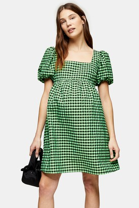 Topshop Womens **Maternity Lime Green Gingham Mini Dress - Lime