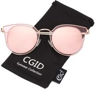 CGID MJ86 Womens Fashion Double Circle UV400 Mirrored Lens Polarized Sunglasses