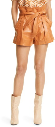 Ulla Johnson Othella Paperbag Leather Shorts