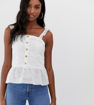 Parisian Tall button front cami top in broderie anglaise-White
