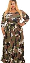Suvotimo Women Elegant Winter Camouflage Party Plus Size Fit And Flare Skater Maxi Dress 4XL