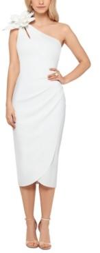 Xscape Evenings Flower-Trim One-Shoulder Sheath Dress