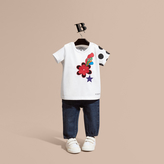 Burberry Embroidered Flower Burst Graphic Cotton T-Shirt