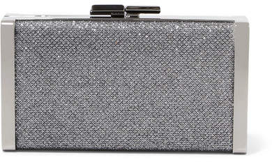 Jimmy Choo J Box Glittered Canvas Clutch - Silver