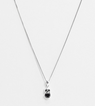 Reclaimed Vintage inspired sterling silver neckchain with skull and stone detail exclusive to ASOS