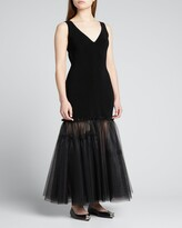 Thumbnail for your product : Alexander McQueen Tulle-Bottom Ribbed Tank Dress