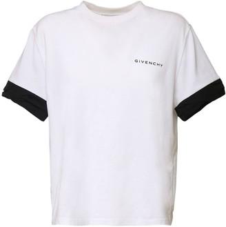 Givenchy Logo Cotton Jersey T-shirt W/ Taffeta