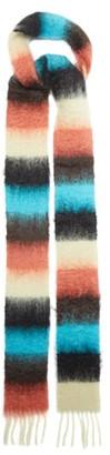 Loewe Logo-tab Striped Fringed Scarf - Pink Multi