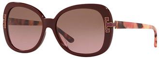 Tory Burch Women's Sunglasses BORDEAUX/PINK/BROWN - Bordeaux & Pink Oversize Sunglasses