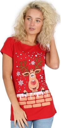 Be Jealous Ladies Christmas T Shirt Womens Reindeer Xmas Snowflake Jersey Cap Sleeve Top M/L (UK 12/14) Reindeer On Wall Red