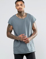Asos Oversized Sleeveless T-Shirt With Twisted Scoop Neck In Slate