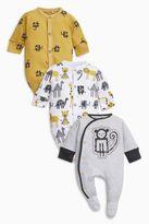 Next Boys Ochre/Cream Monkey Sleepsuits Three Pack (0mths-2yrs)