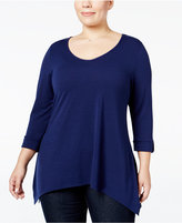NY Collection Plus Size Roll-Tab Handkerchief-Hem Top